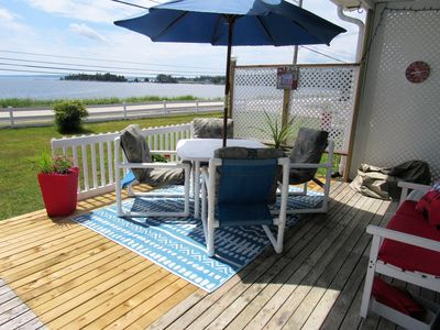 Ocean view from your deck, with a portable propane fire pit for cooler evenings.