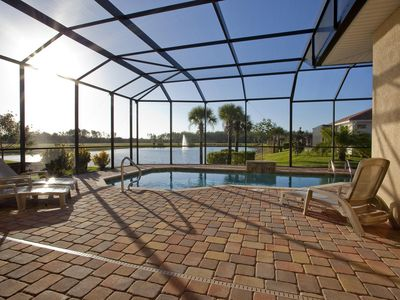 Photo for Luxurious 3 bedroom villa with heated pool and south facing lake view