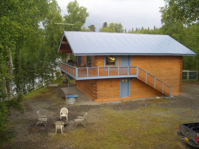 Photo for Beautiful log home Kenai River has full length deck overlooking river