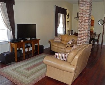 Living Room with flat screen TV and queen size fold out sleeper