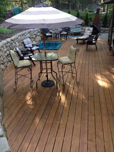 Deck area with hot tub