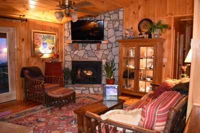 Cozy and comfortable Living room with gas log fireplace.