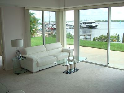 Living Room with New Leather Sofa overlooking the water.