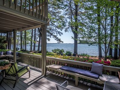 Photo for Secluded Lake Norman Waterfront Home with Beach, Pier and pontoon boat