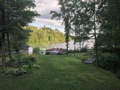 Shared back yard space with view of Menominee Lake.