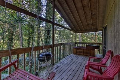 The furnished and covered deck is a dream!