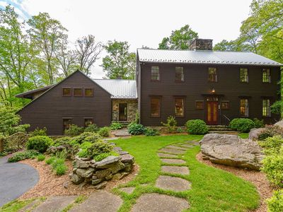 Photo for 6BR Mtn Estate on 6 Acres, Views, Hot Tub, Creek, Fitness Facility, Game Tables!