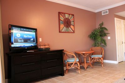 Dining bistro table and LED Smart TV