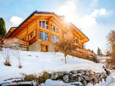 Photo for Beautiful chalet for 12 people in heart of Swiss Alps with hot tub