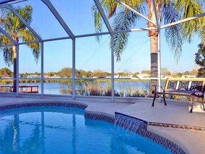 Photo for Lake view villa with private, heated pool and close to beach
