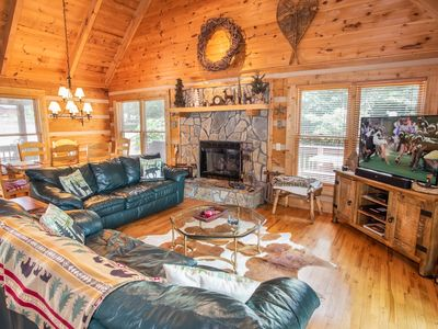 Photo for 3BR/3BA Log Mountain Home on Seven Devils, Hot Tub, Views, Pool Table, Outdoor Fire Pit, Sun Room, King Suite, Close to Boone and Banner Elk!