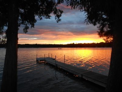 Birch Lake view from the cabins at sunset, ask about multiple cabin discounts