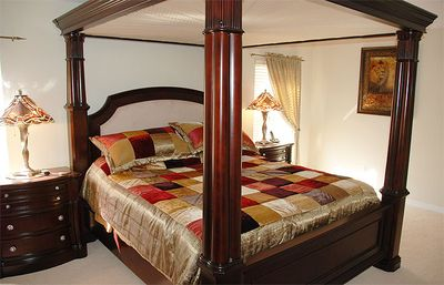 Master with 4 post bed and luxury en suite.