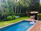 Pool, grill, table