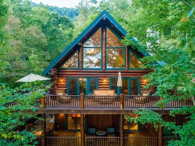 Photo for Rustic & cozy log home with hot tub, fire pit & mountain views