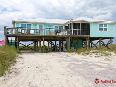 Photo for Enjoy this awesome 4 bedroom, 3 1/2 bath home just steps from the beach with gorgeous Gulf and Bay Views! Against The Wind has all the extras and is sure to be perfect for your family's vacation.