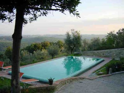 Photo for Flat with pool in olive-tree panorama, 15 min from Florence and 45 from Siena
