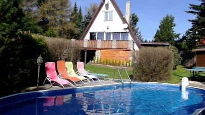 Photo for Holiday house Svahova with fireplace, sauna, tennis court, jacuzzi and outdoor pool