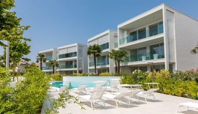 Photo for Luxury and relaxation-pool-new apartment on the ground floor-10 minutes from the sea