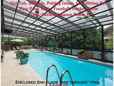BEACH VACATION w/2nd fl.enclosed deep swimming pool- many game tables-see photos