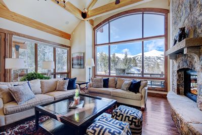 Relax by the gas fireplace on the large comfortable sofas.