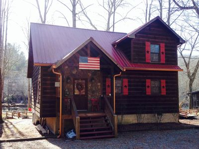 Photo for ELLIJAY River Cabin Water Front Updated On Water Firepit Hot Tub Convenient FUN