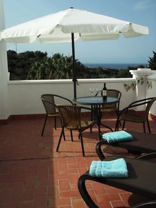 Photo for Apartment with Large Terrace, Sea Views, Air Con, Internet + Communal Pools