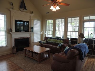 Comfortable TV and fireplace great room with golf course views