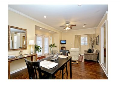 Breakfast dining and living. Note beautiful  hardwood floors