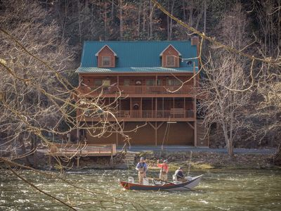 Photo for Gorgeous River Front Custom Cabin: This cabin is a fishermans paradise!