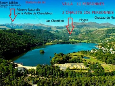 Photo for Villa and 2 Chalets in Chambon-sur-lac, in the natural park of Sancy volcanoes