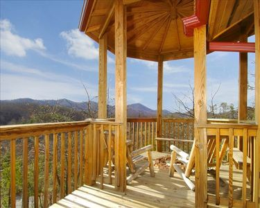 View of the Smokies from balcony and gas fire-pit