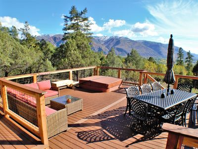 Photo for Spacious Home with Valley and Mountain Views Backs to National Forest, Hot Tub on Deck, Pet Friendly
