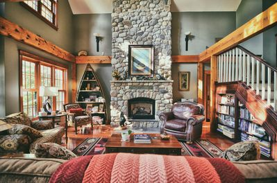 Living Room with Gas Fireplace, antique boat bookcase