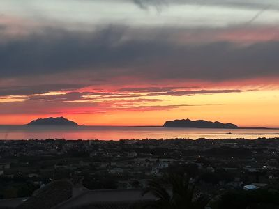 Photo for panoramic villa sunset on the egadios
