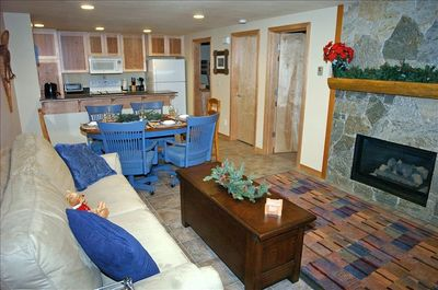 Large gathering area for family and friends - natural rock, mountain fireplace