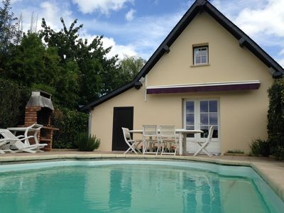 Photo for Half-timbered longère of 140m2 private heated pool next to Cabourg