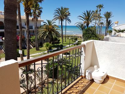 Photo for 1ªLínie! Directly on the beach, sea view, pool, air conditioning, WIFI