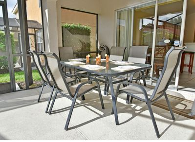 Shaded patio table