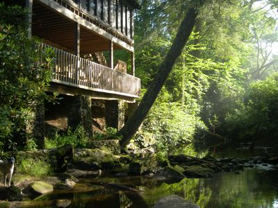 Photo for Charming Log Cabin on Big Creek. Dog friendly. 10 minutes to downtown Highlands