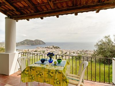 Photo for Studio with commanding sea views & terrace - close to the beach & town!