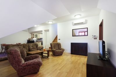 Living room with satellite TV and high-speed Internet