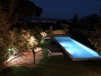 Photo for Villa Les Bruyeres with sea view, heated pool for 12 people