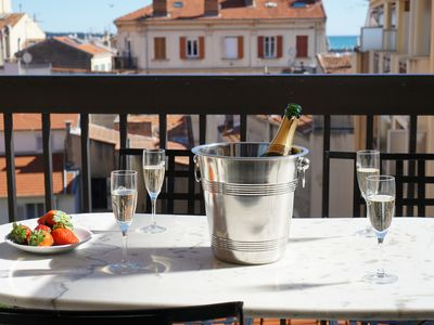 Photo for Bright studio in Cannes Banane with balcony 3 min from Palais and beaches