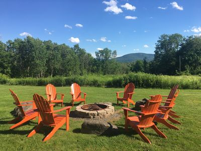 View of Windham Mountain from Fire Pit with 8 Adirondack Chairs