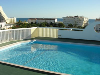Photo for T1 - 5 minutes walk from the beach - Swimming pool salt water - large balcony w / sea view