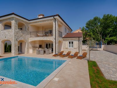 Photo for New stone villa with pool, 600 meters from the beach, sea view, quiet location