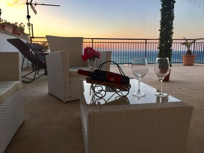 Photo for The romantic terrace on the sea 200m from the beach Palermo Trapani Sicily