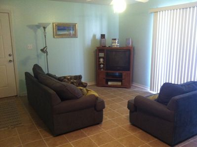 Living room with stereo and cable TV