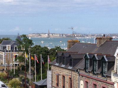 Photo for Dinard T3 on the 3rd floor SEA VIEW 45m2 - beach at the foot and shops nearby
